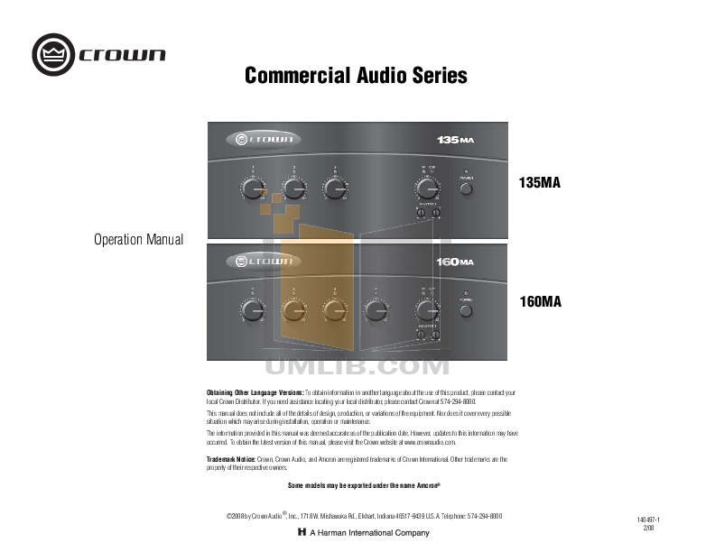 pdf for Crown Other 14M Mixer-Amplifier-Combo manual