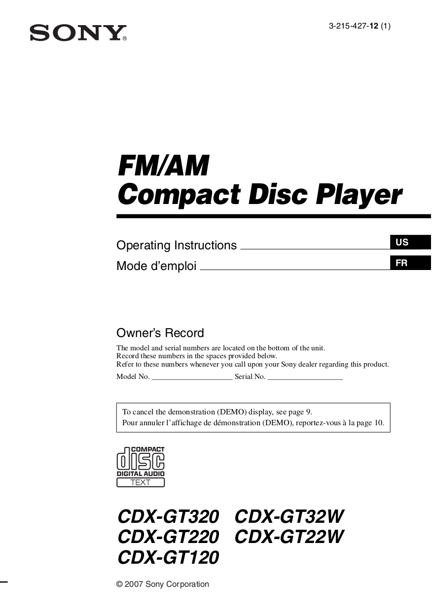 Download free pdf for Sony CDX-GT220 Car Receiver manual