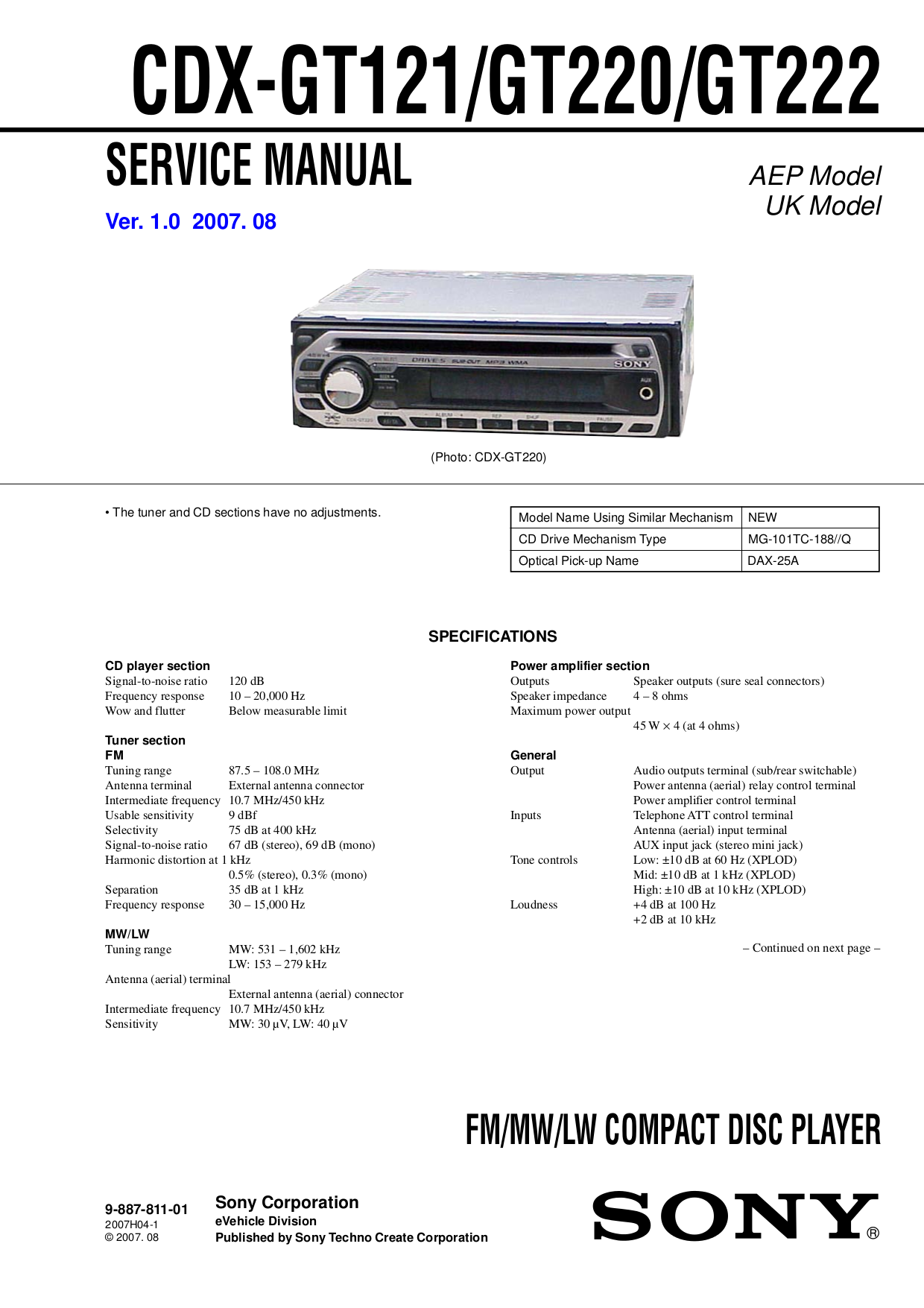 SONY CDX GT121 GT220 GT222.pdf 0 download free pdf for sony cdx gt220 car receiver manual sony xplod cdx sw200 wiring diagram at alyssarenee.co