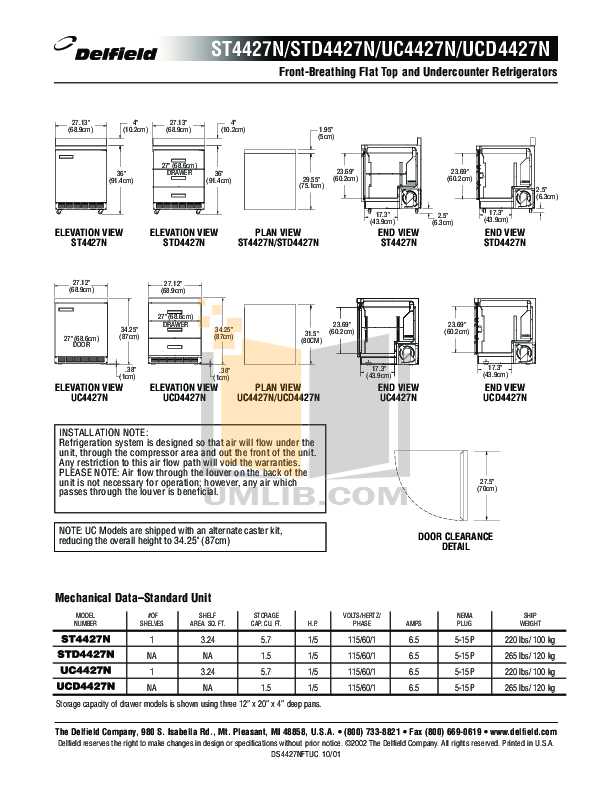 Delfield Refrigerator ST4427N pdf page preview