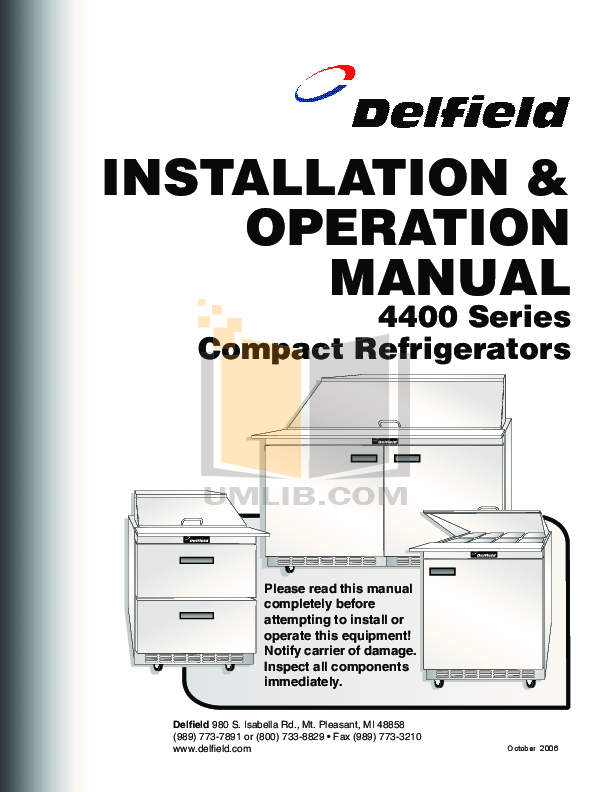 pdf for Delfield Refrigerator ST4427N manual