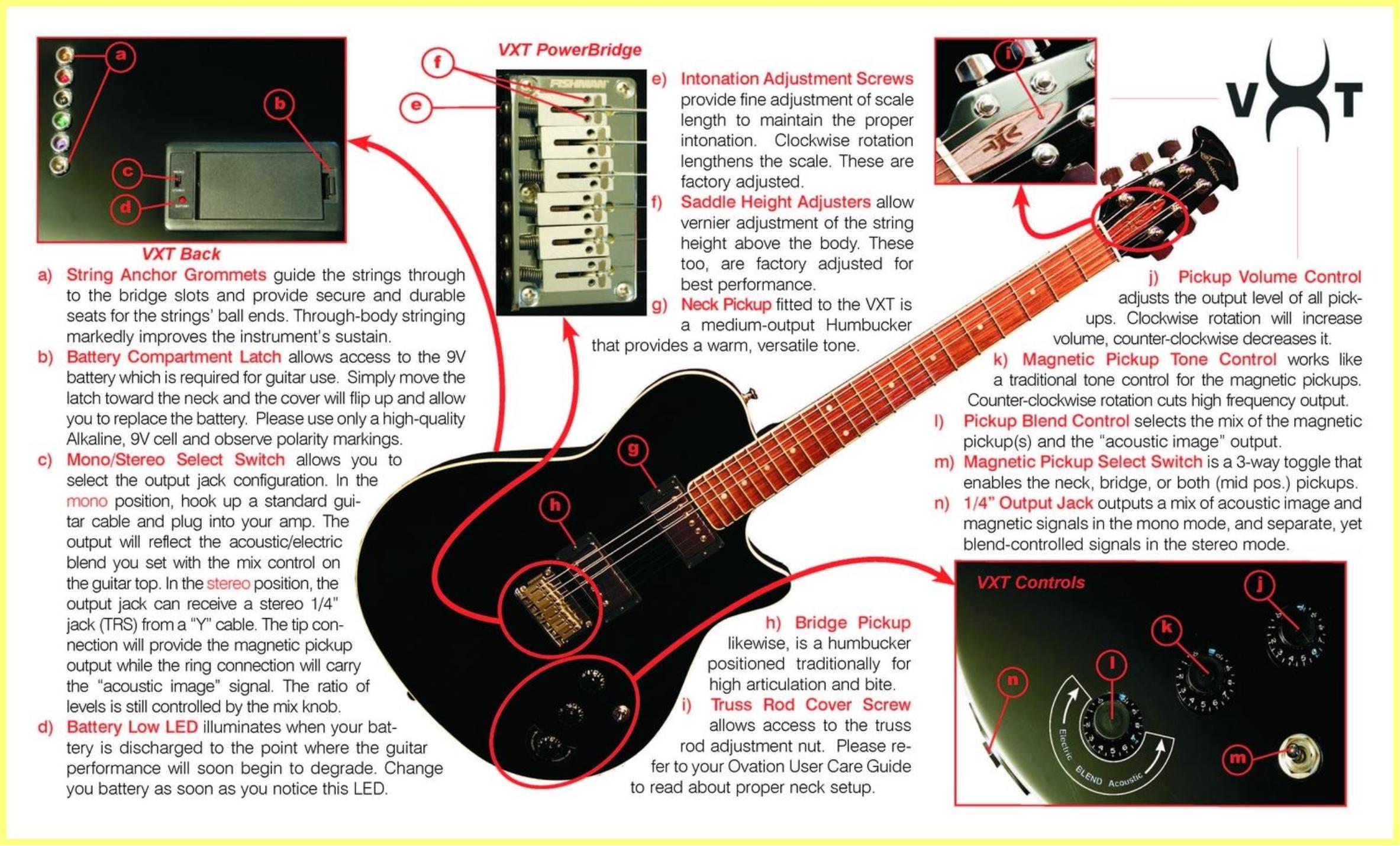 Download free pdf for Ovation VXT Standard Guitar manual