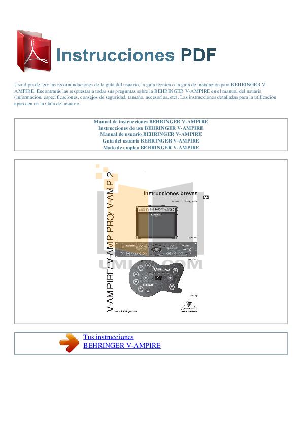 pdf for Behringer Amp V-AMPIRE manual