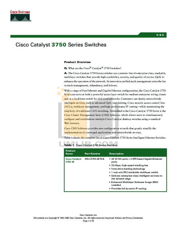 Download free pdf for Cisco Catalyst 3750G-48PS Switch manual