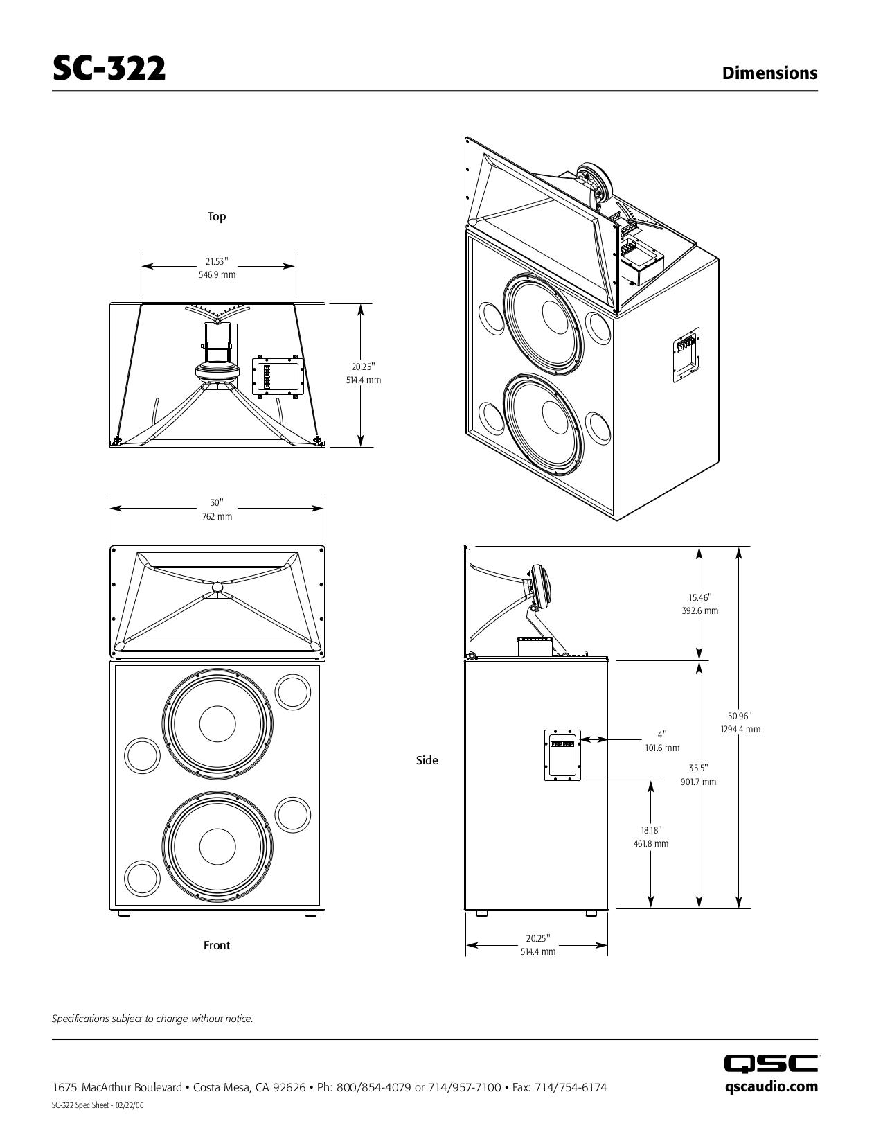 QSC Speaker SC-322 pdf page preview