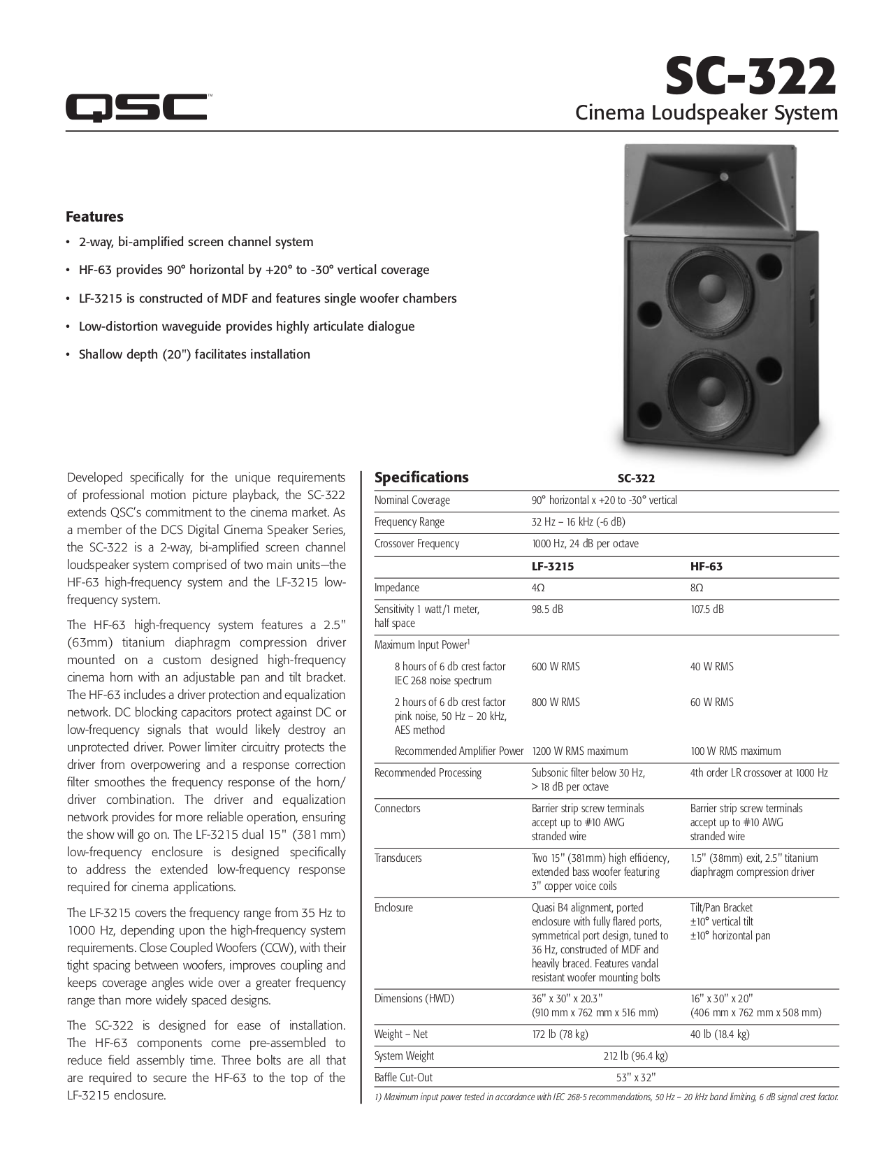 pdf for QSC Speaker SC-322 manual