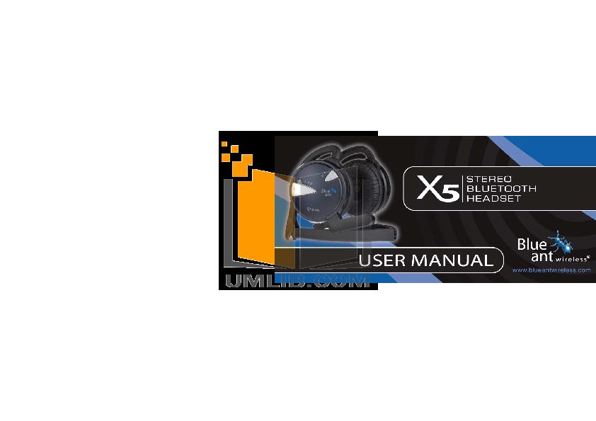 pdf for Blueant Headphone X5 manual