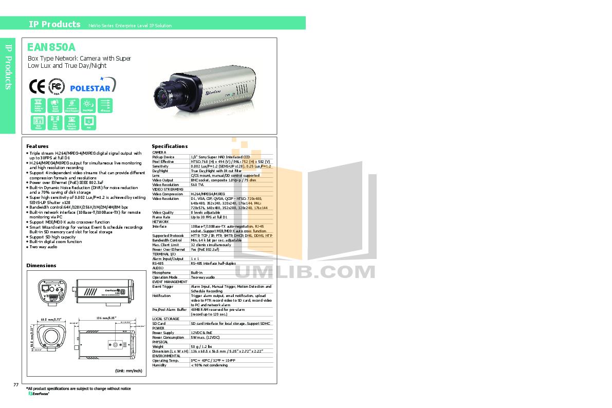 pdf for EverFocus Security Camera EAN850A manual