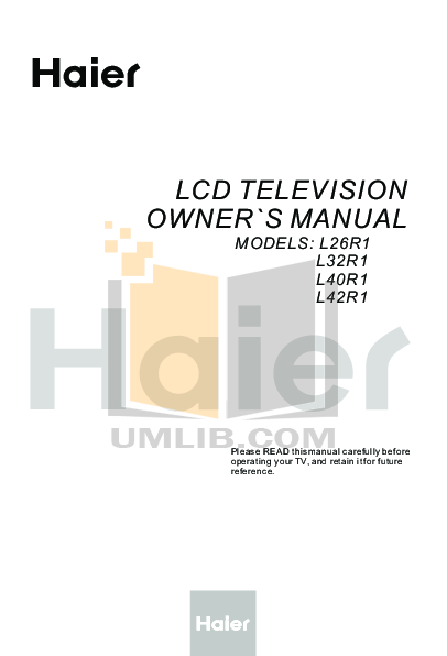 pdf for Haier TV L40R1 manual