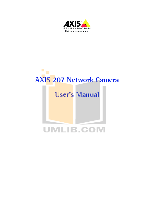 pdf for Axis Security Camera 207 manual