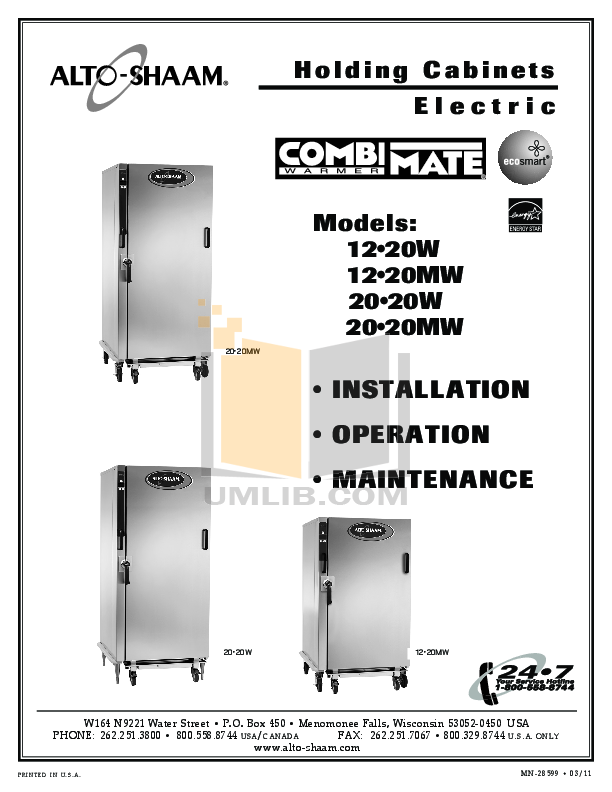 pdf for AltoShaam Other 20-20MW Warmers manual