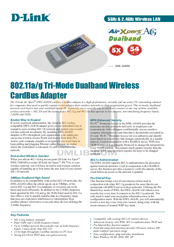pdf for D-link Other DWL-AG650 manual