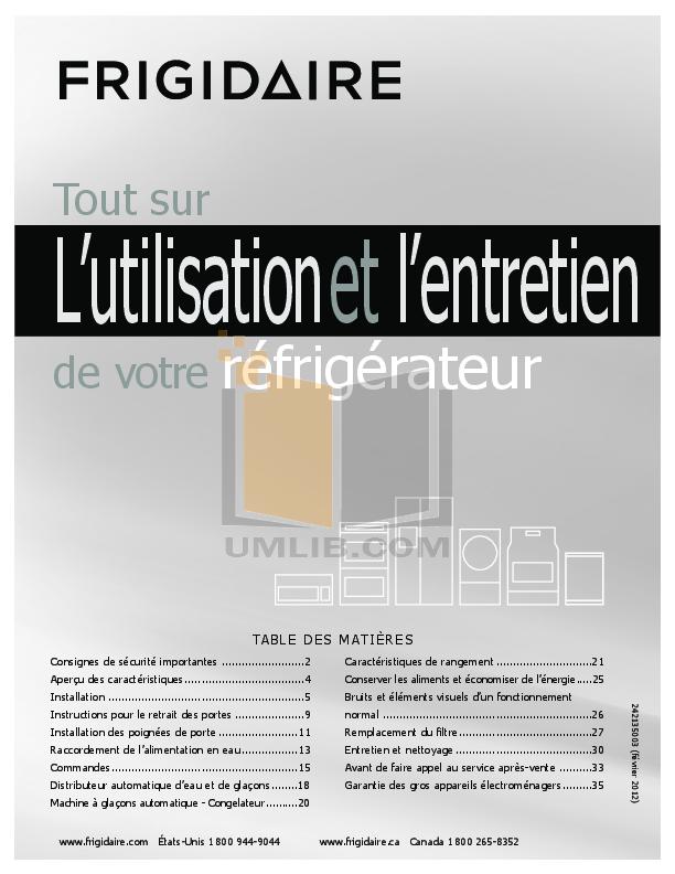 pdf for Frigidaire Refrigerator Gallery FGHF2369MF manual
