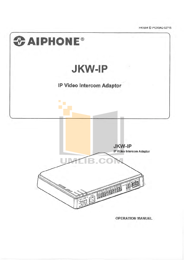 pdf for Aiphone Other TA-12F Intercoms manual