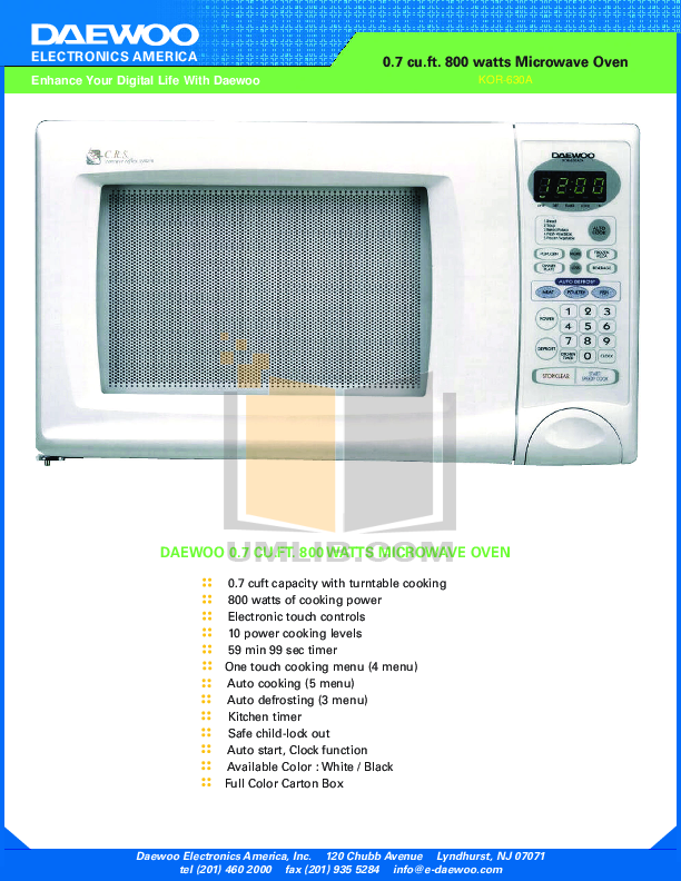 pdf for Daewoo Microwave KOR-630A manual