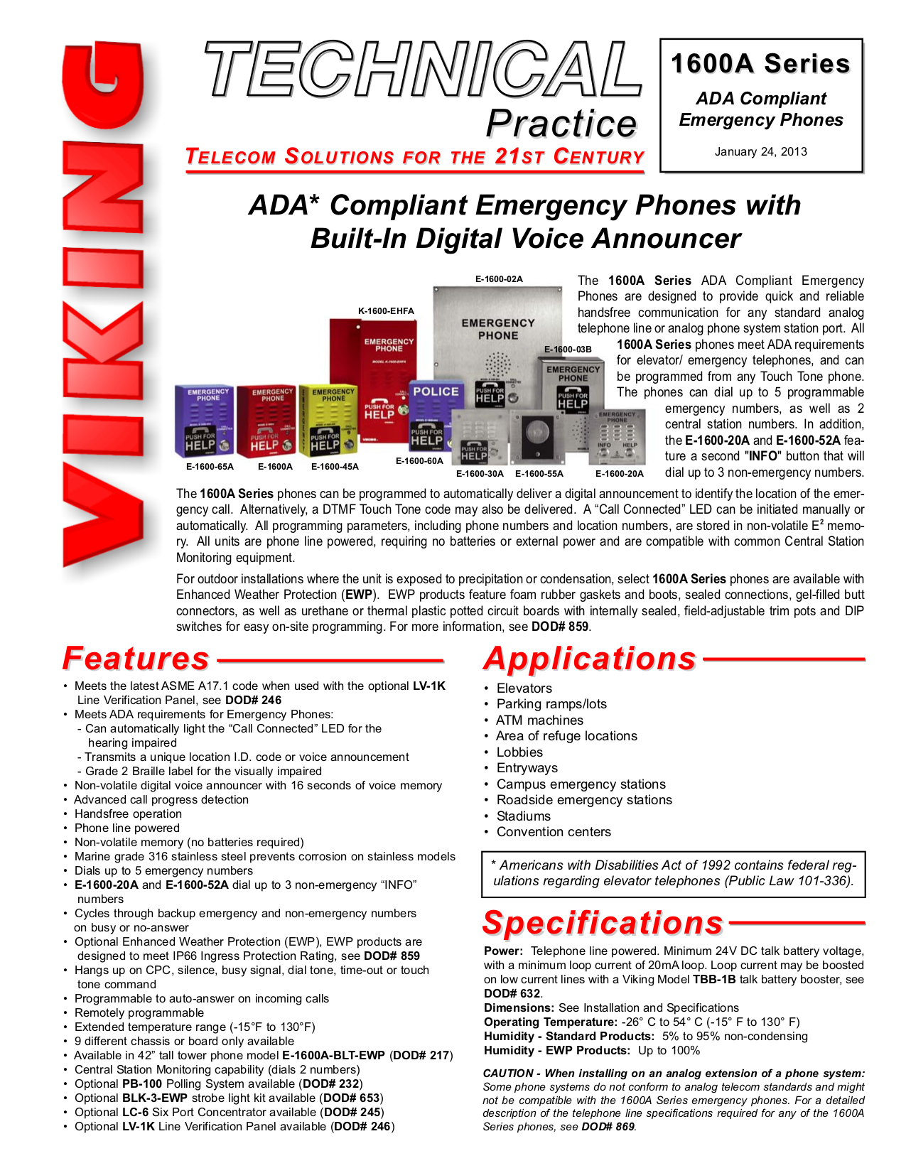 pdf for Viking Other E-1600-30A Emergency Phones manual