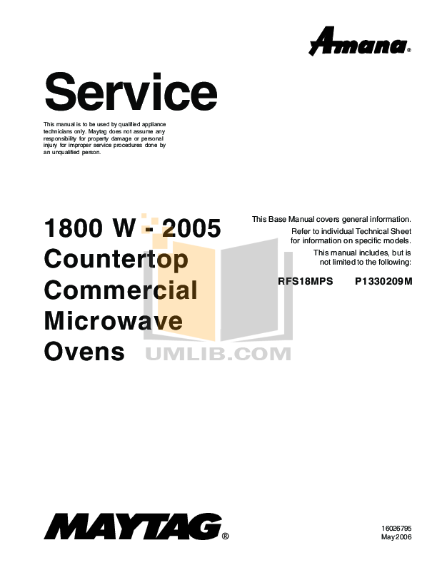 Download free pdf for Amana RFS18MPS Microwave manual