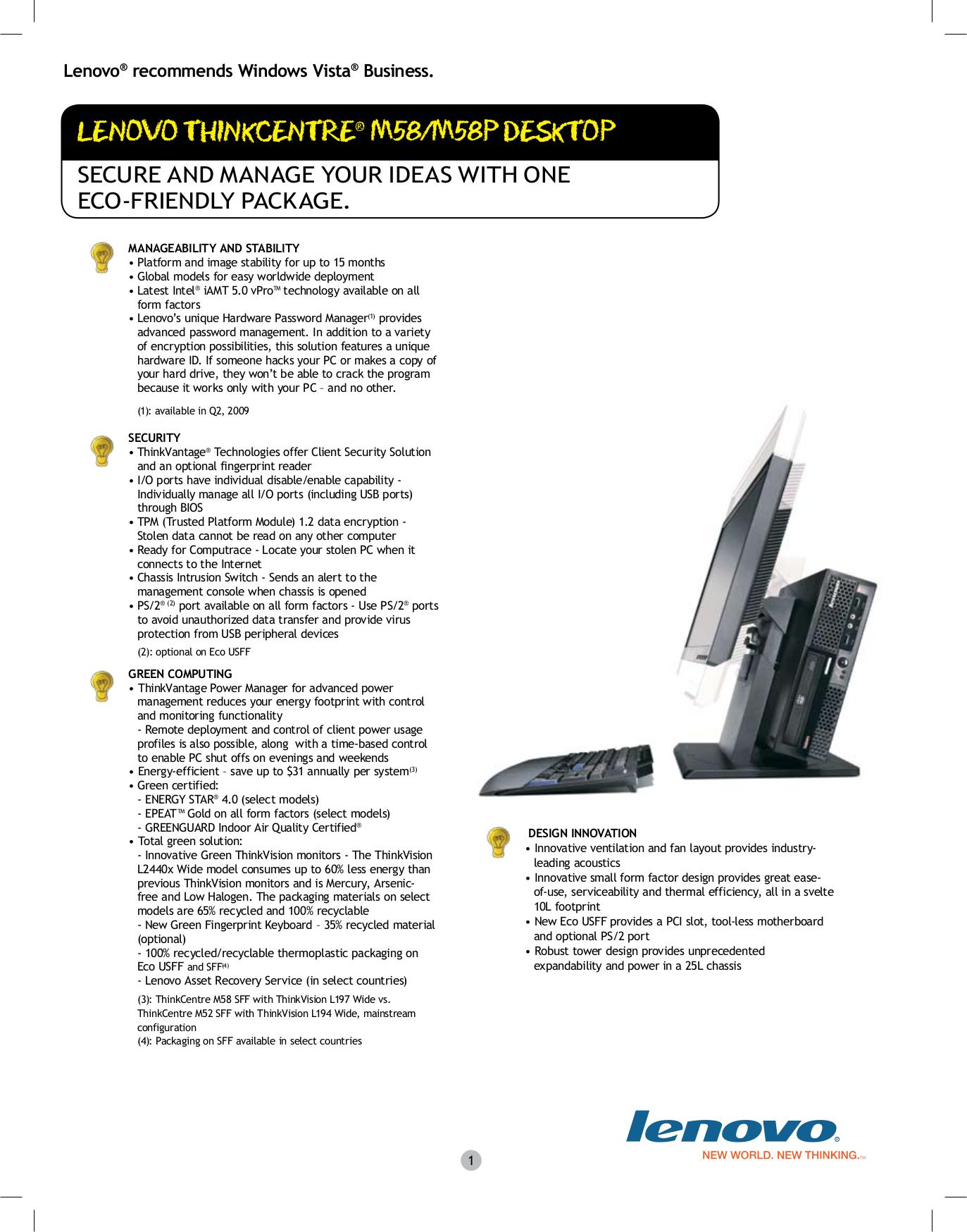 pdf for Lenovo Desktop ThinkCentre M58p 7357 manual