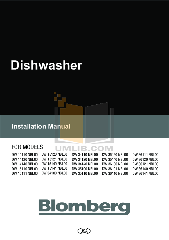 pdf for Blomberg Dishwasher DW 34100 manual