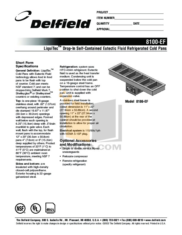 pdf for Delfield Other 8159-EF Cold Pans manual
