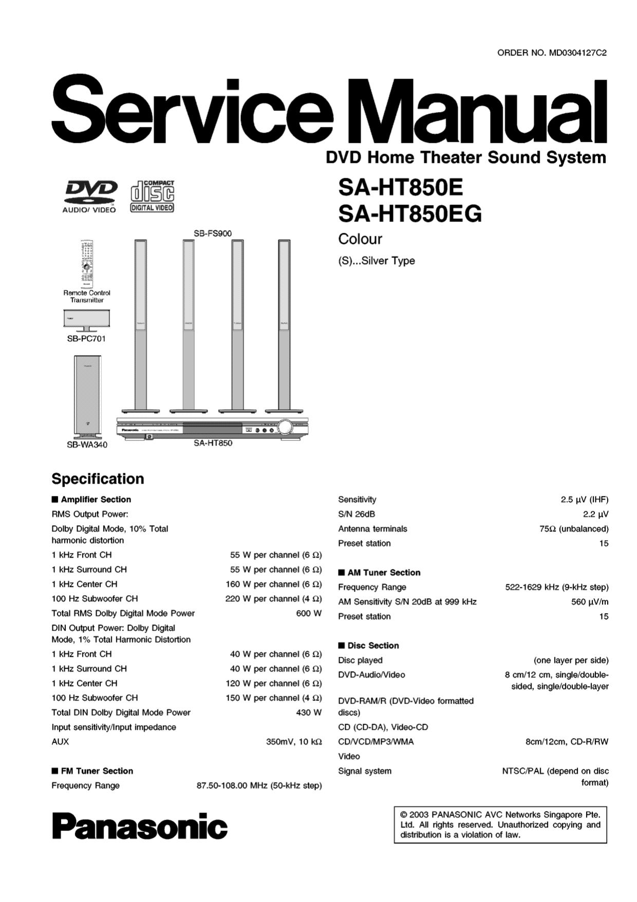 download free pdf for panasonic sa ht900 home theater manual rh umlib com sc-ht900 manual sa ht900 service manual