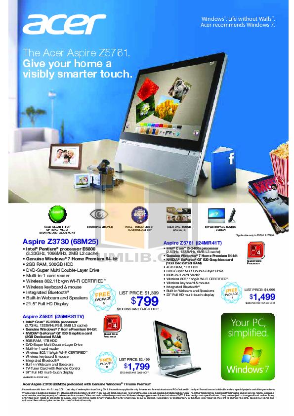 pdf for Acer Desktop AspireRevo 3610 manual