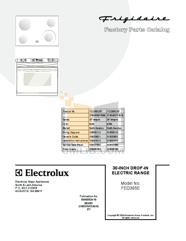 pdf for Frigidaire Range FED365ES manual