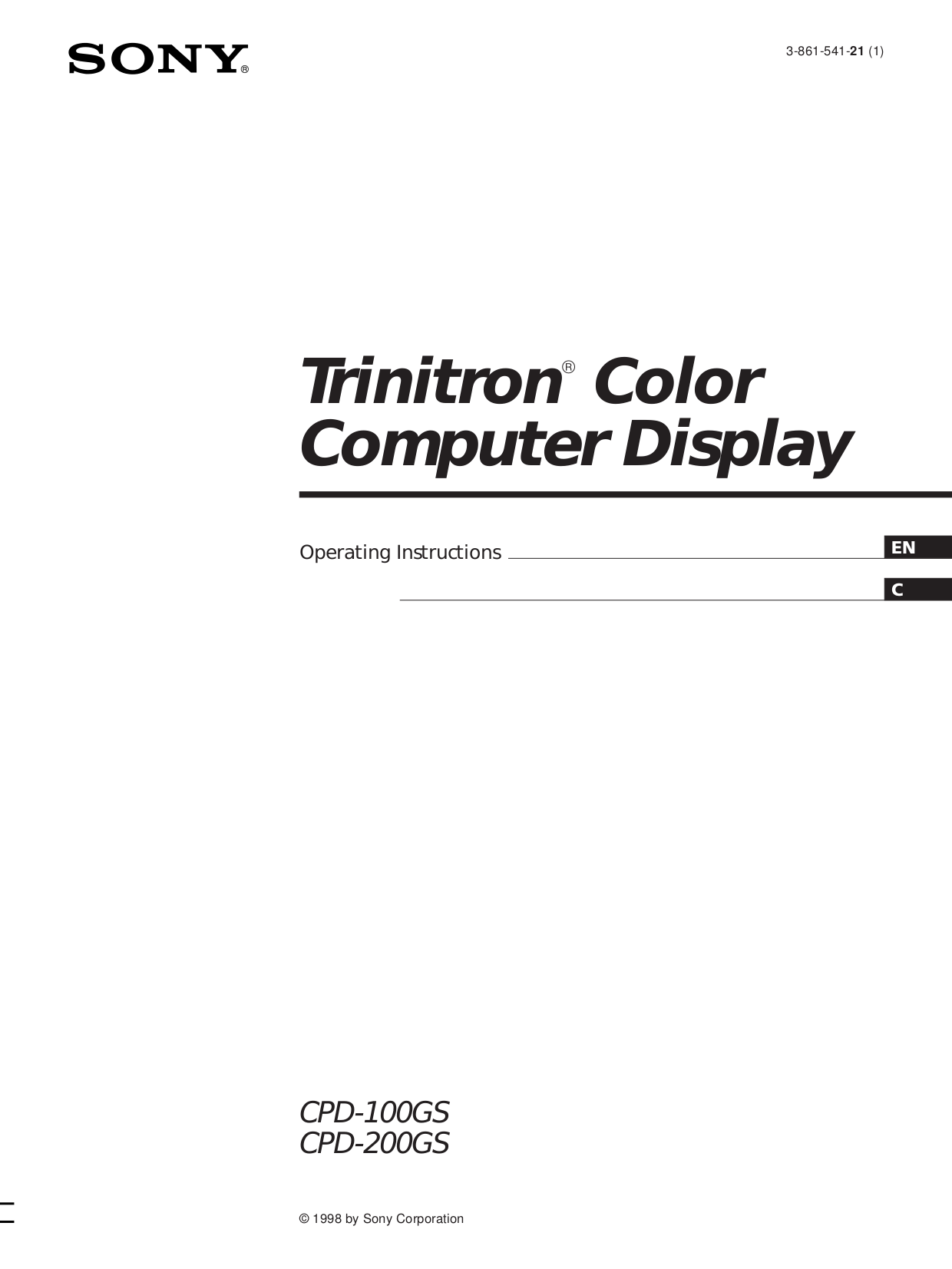 pdf for Sony Monitor CPD-100GS manual