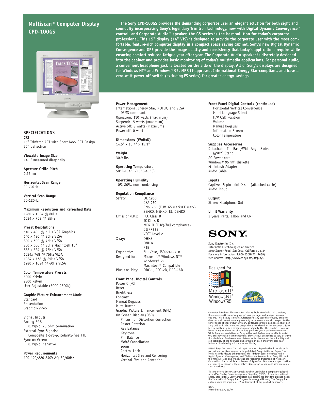 Sony Monitor CPD-100GS pdf page preview