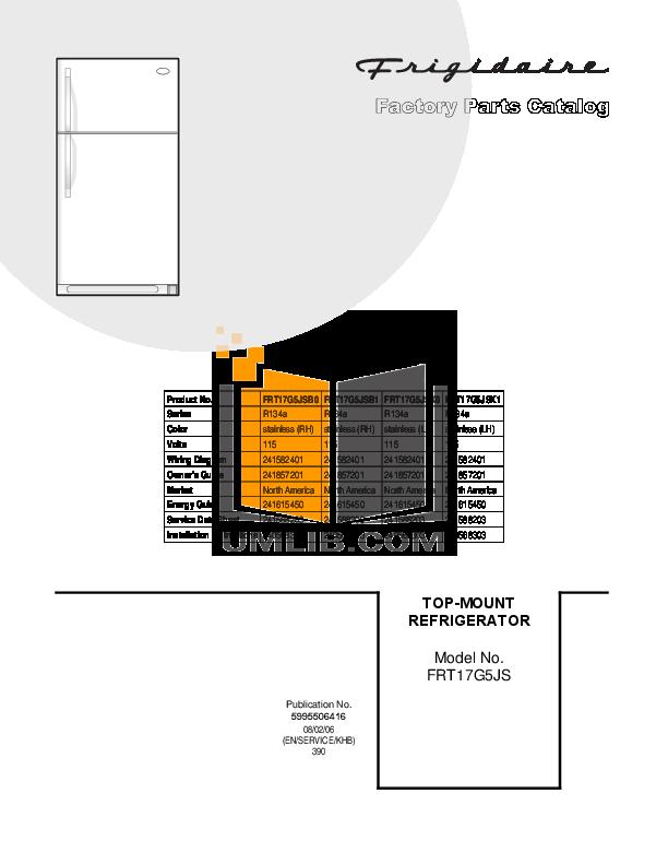pdf for Frigidaire Refrigerator FRT17G5JS manual