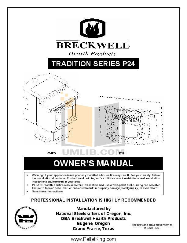 pdf for Breckwell Heating Cooling and Air Tradition P24FSA manual