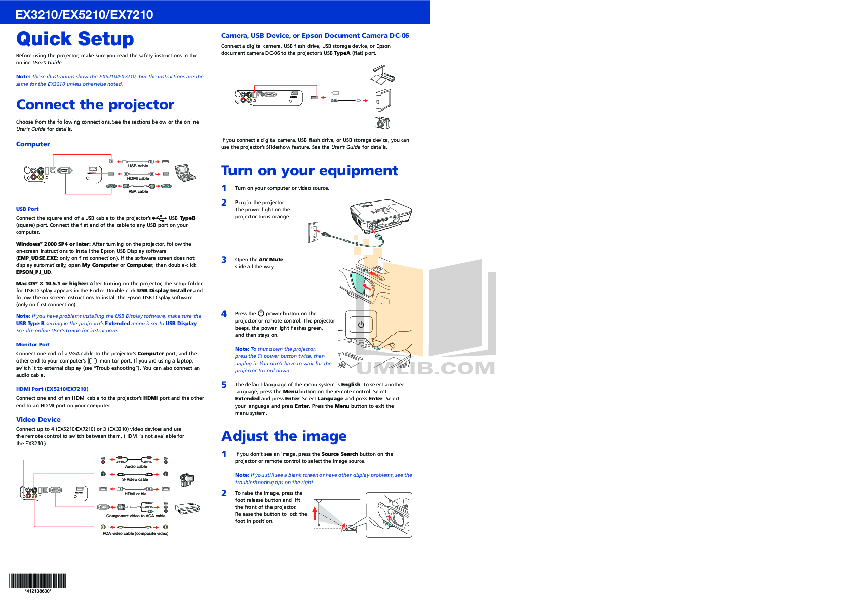 pdf for Epson Projector EX7210 manual