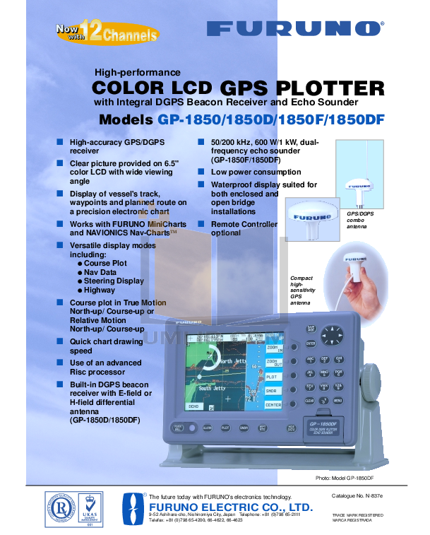 pdf for Furuno GPS GP-1850WF manual