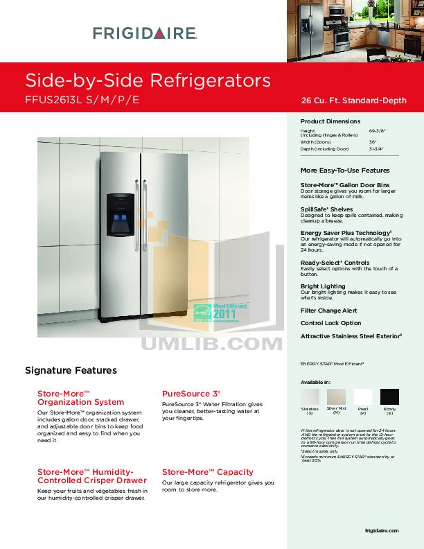 pdf for Frigidaire Refrigerator FFUS2613L manual