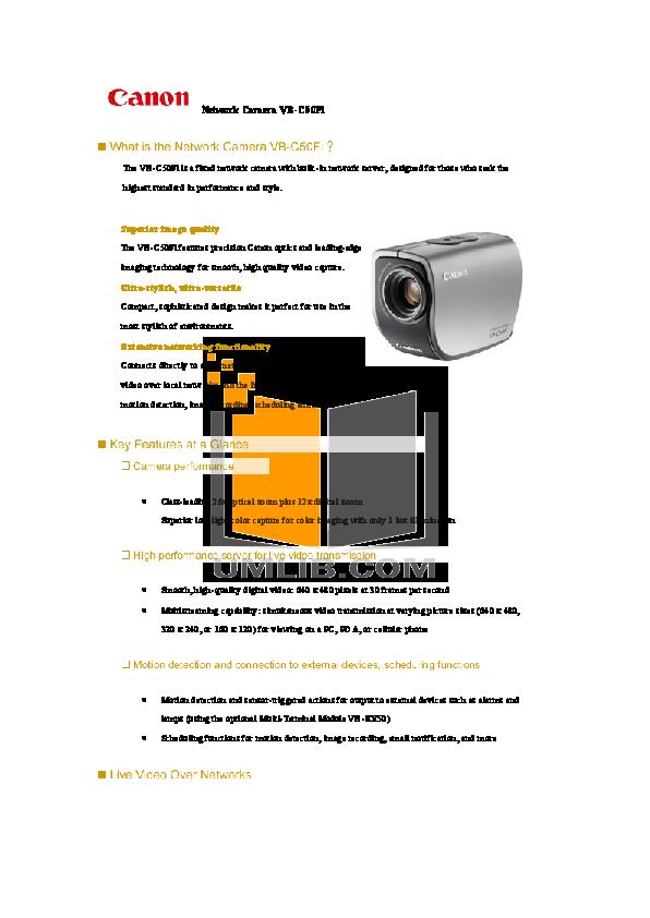 pdf for Canon Security Camera VB-C50Fi manual