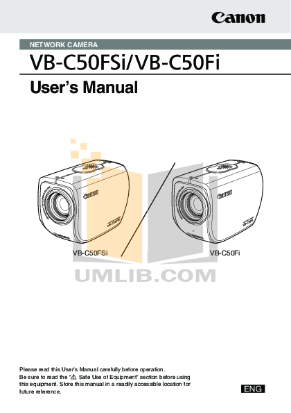 pdf for Canon Security Camera VB-C50Fi manual