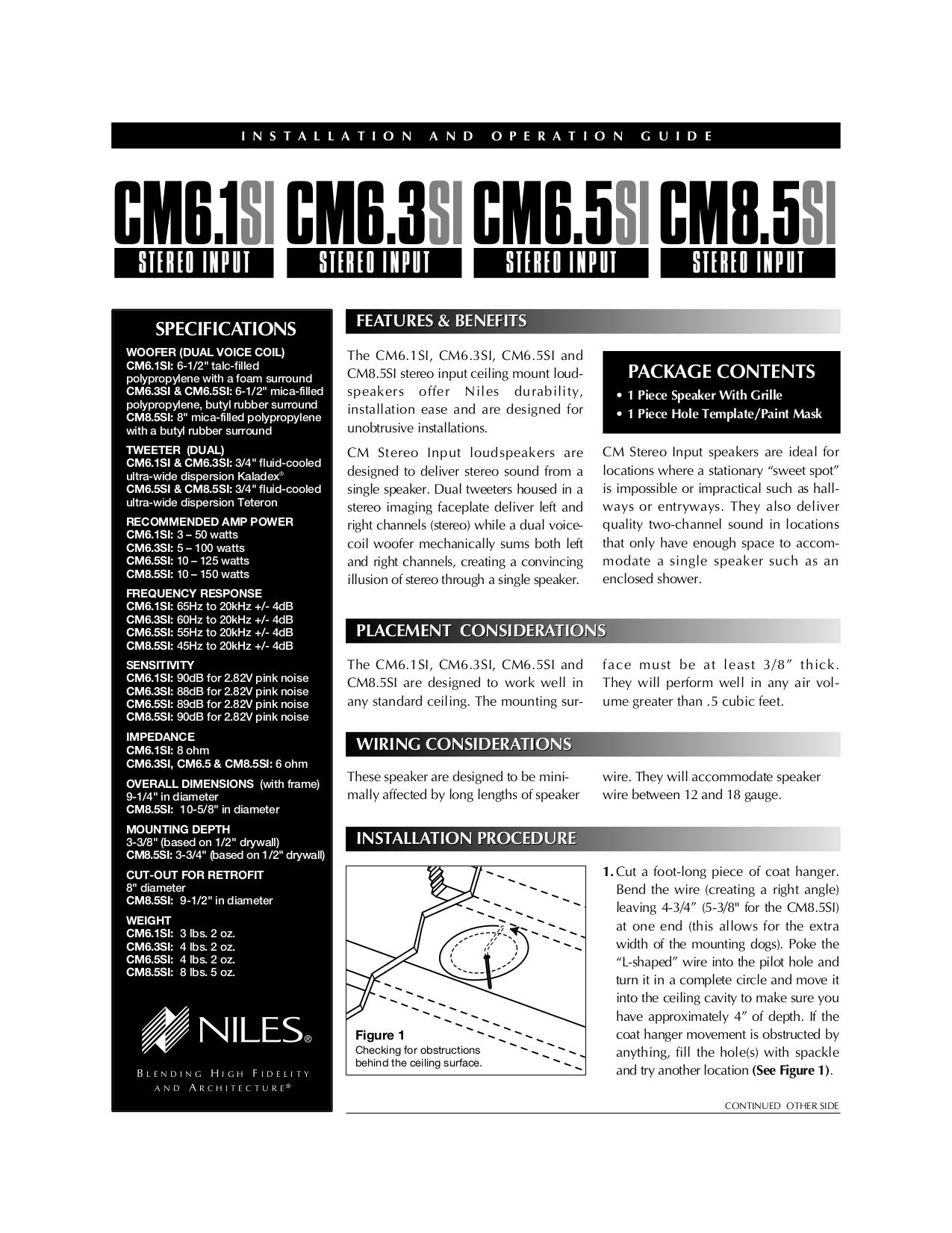 pdf for Niles Speaker CM8.5Si manual