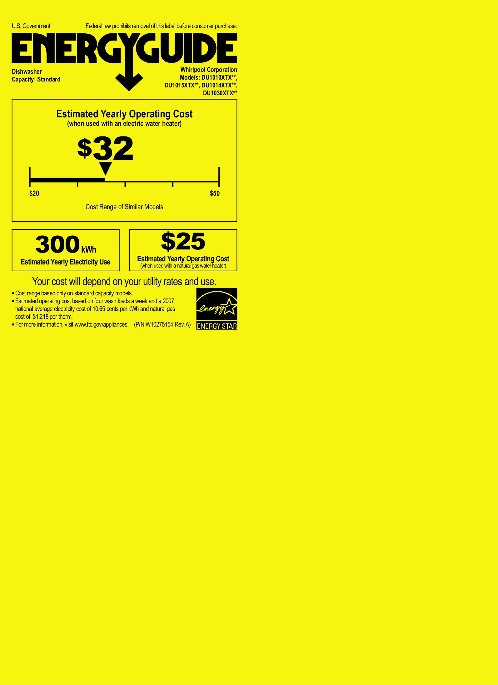 pdf for Whirlpool Dishwasher DU1010XTX manual