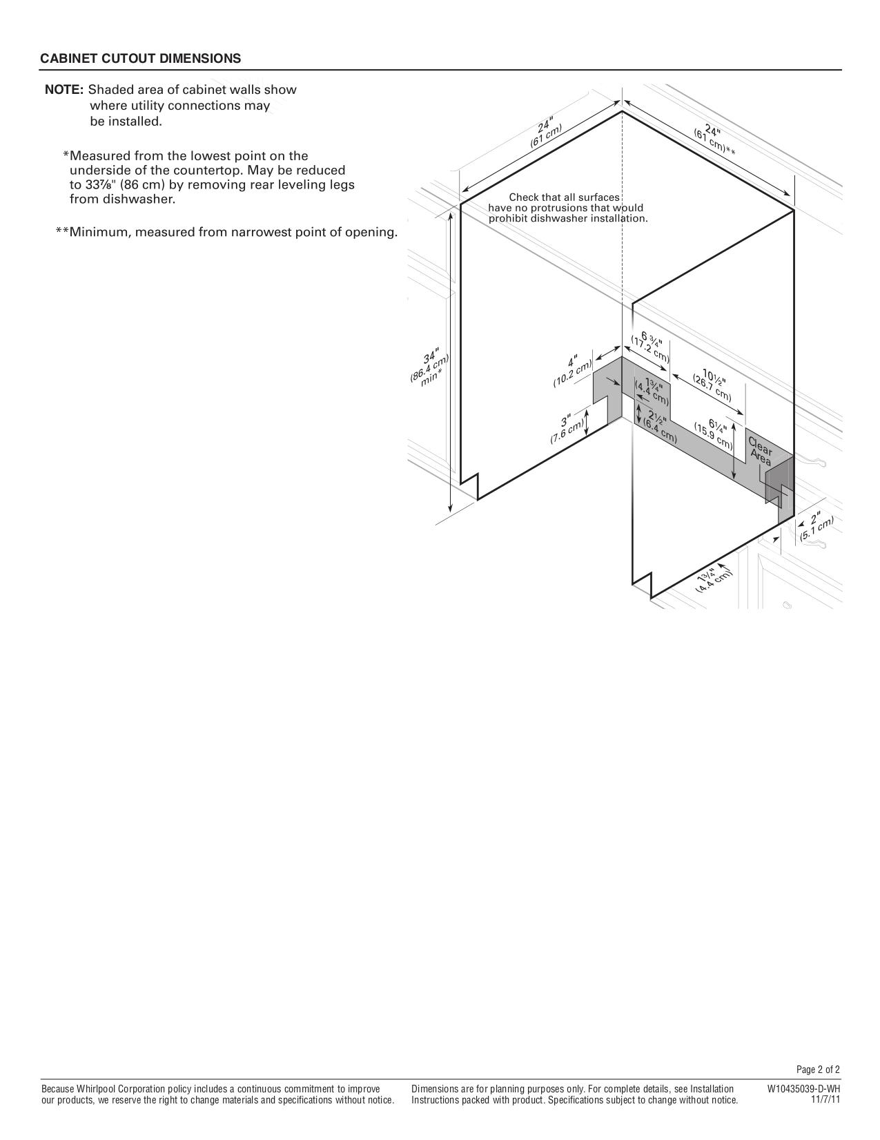 Whirlpool Dishwasher DU1010XTX pdf page preview