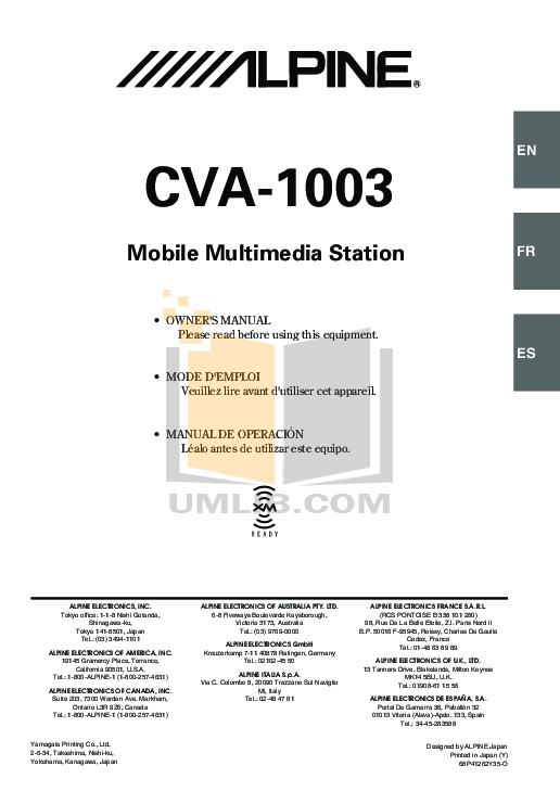 pdf for Alpine Car Video CVA-1003 manual