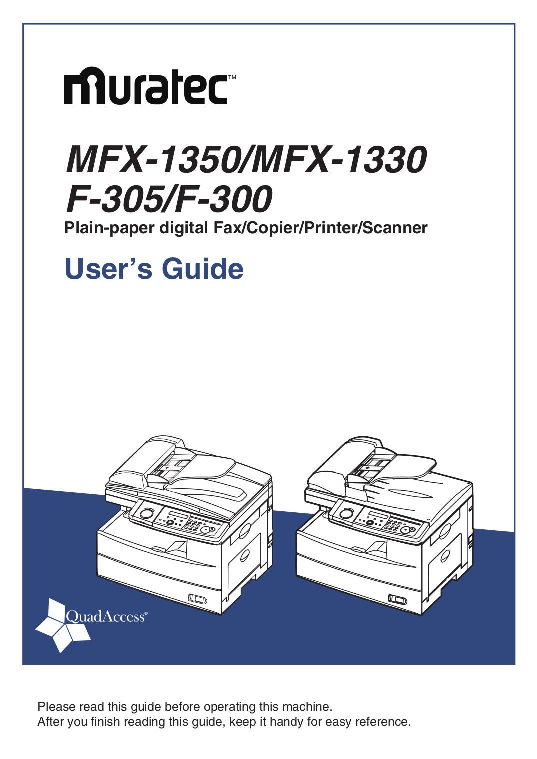 pdf for Muratec Copier MFX-1350 manual