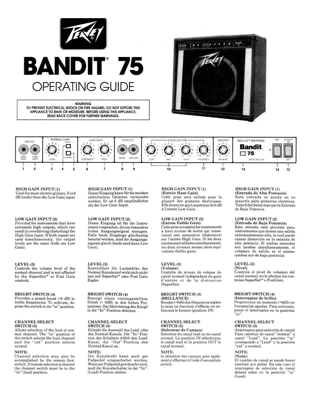 Download free pdf for Peavey Bandit 75 Amp manual