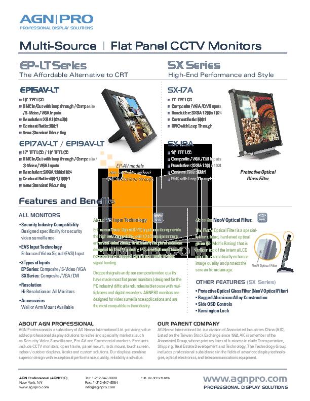 pdf for Agnpro Monitor SX-17A manual