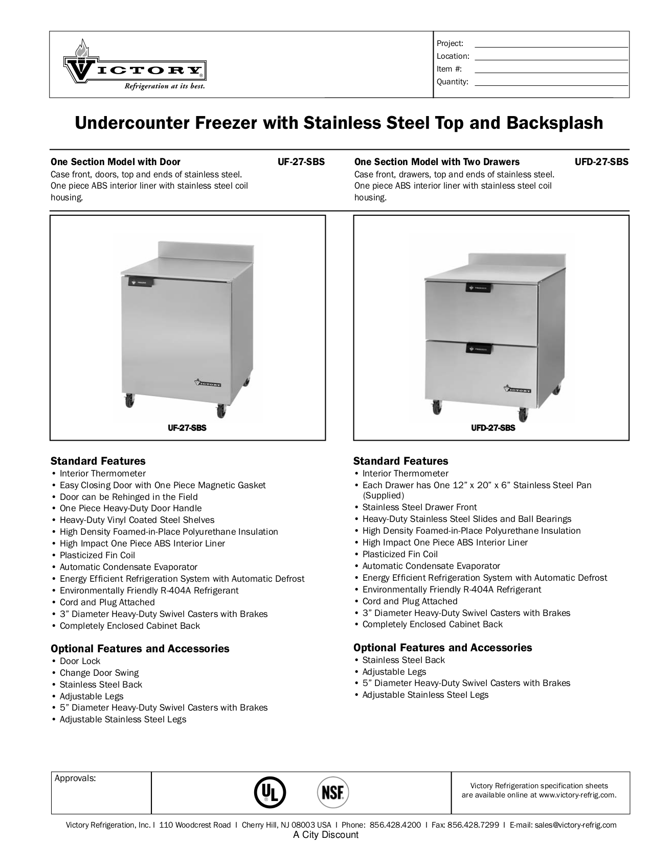 pdf for Victory Freezer UFD-27-SBS manual