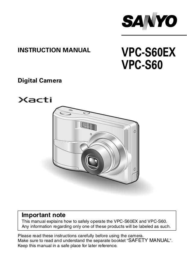 pdf for Sanyo Digital Camera Xacti VPC-S60 manual