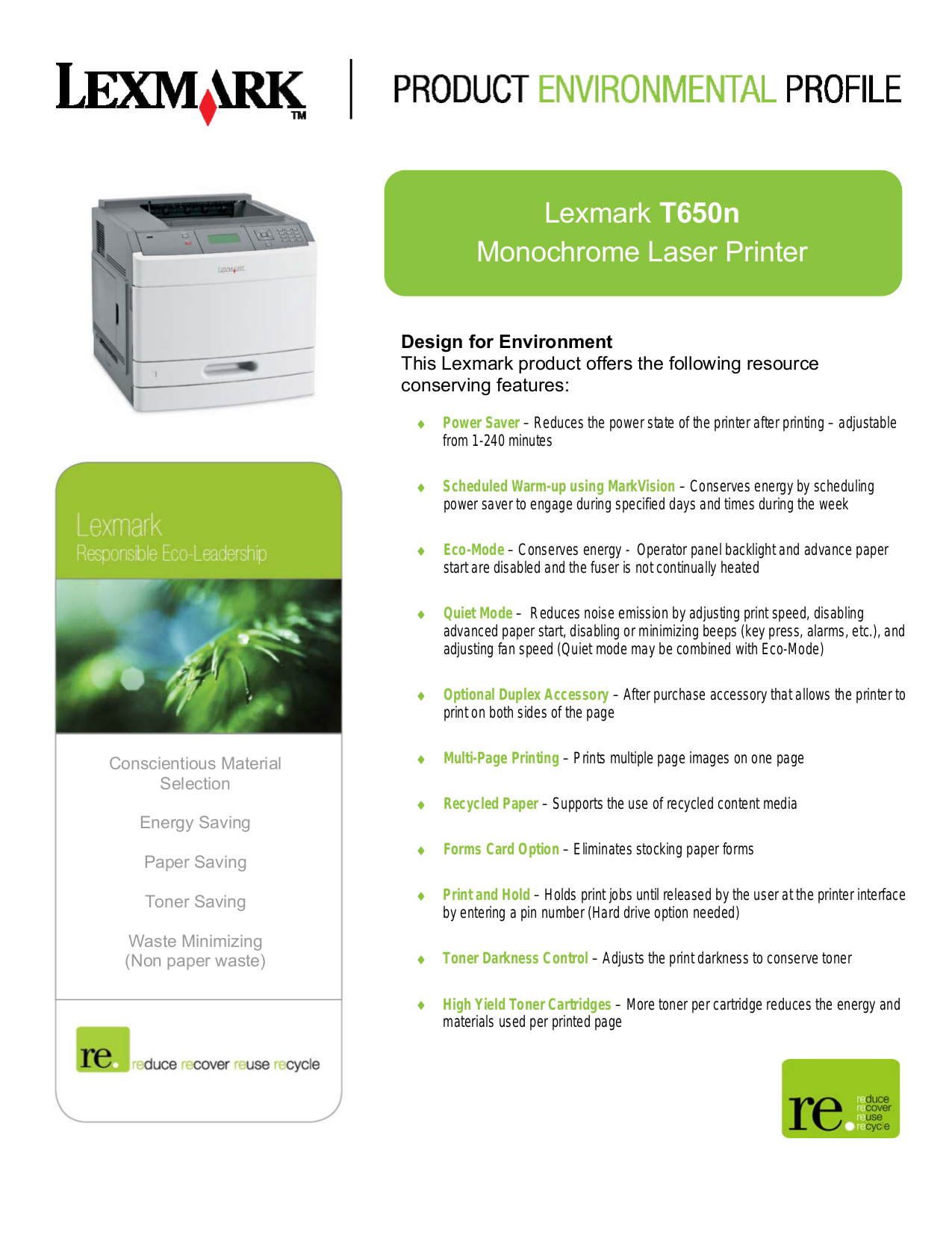 pdf for Lexmark Printer T650n manual