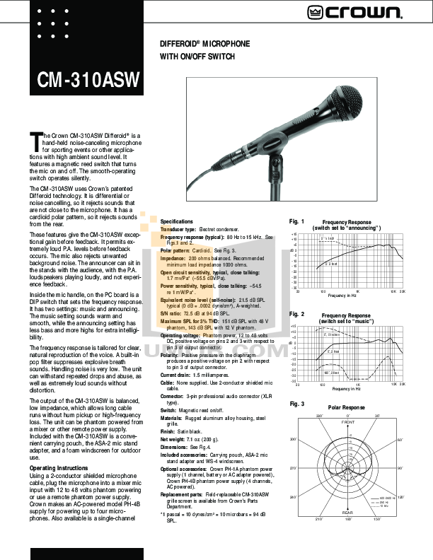 pdf for Crown Other PH-4B Power Supply manual