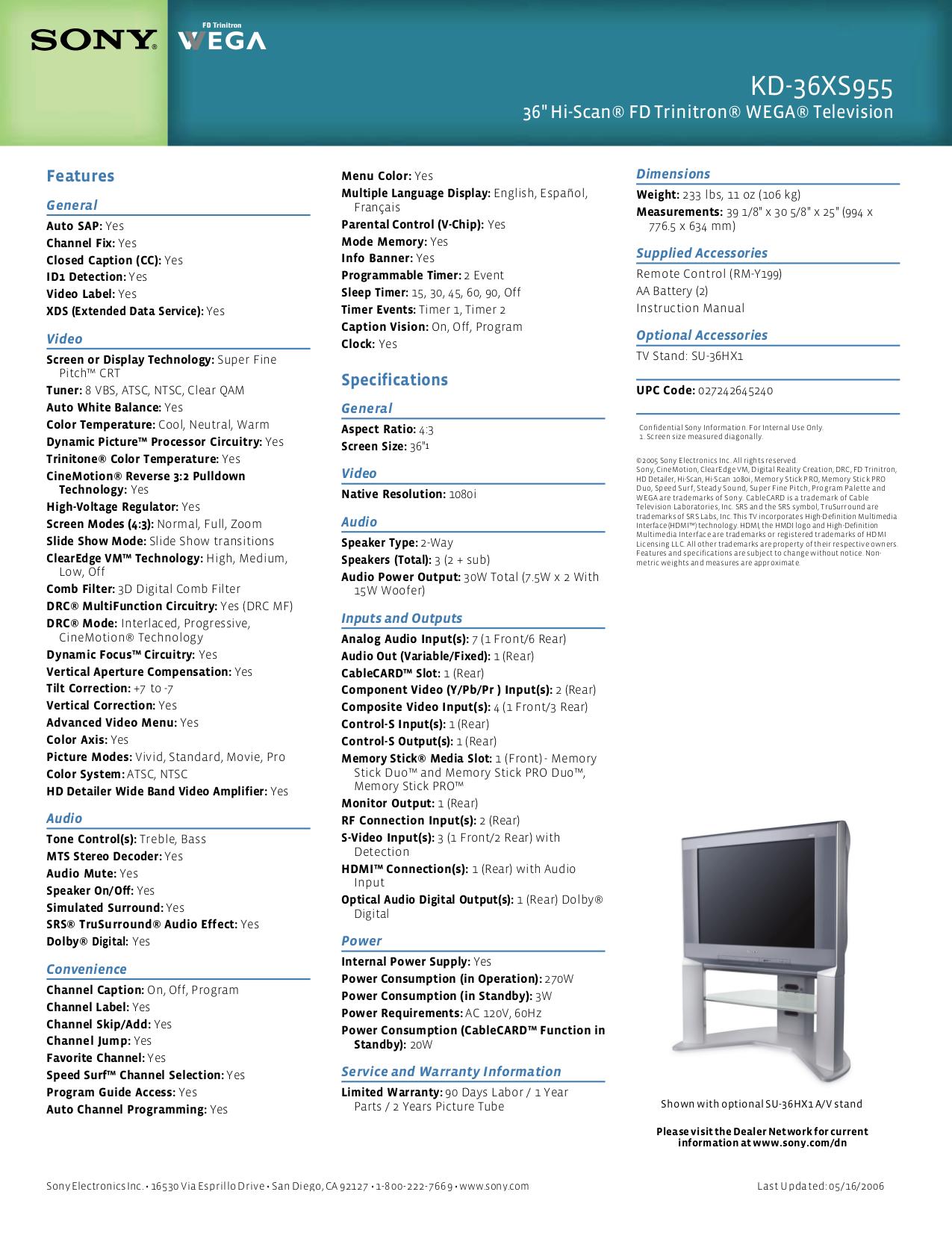PDF manual for Sony TV WEGA KD-36XS955
