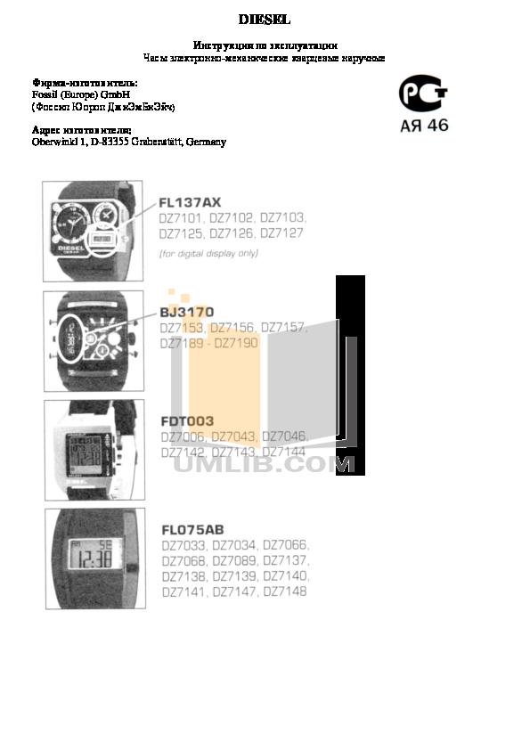 pdf for Diesel Watch DZ1267 manual