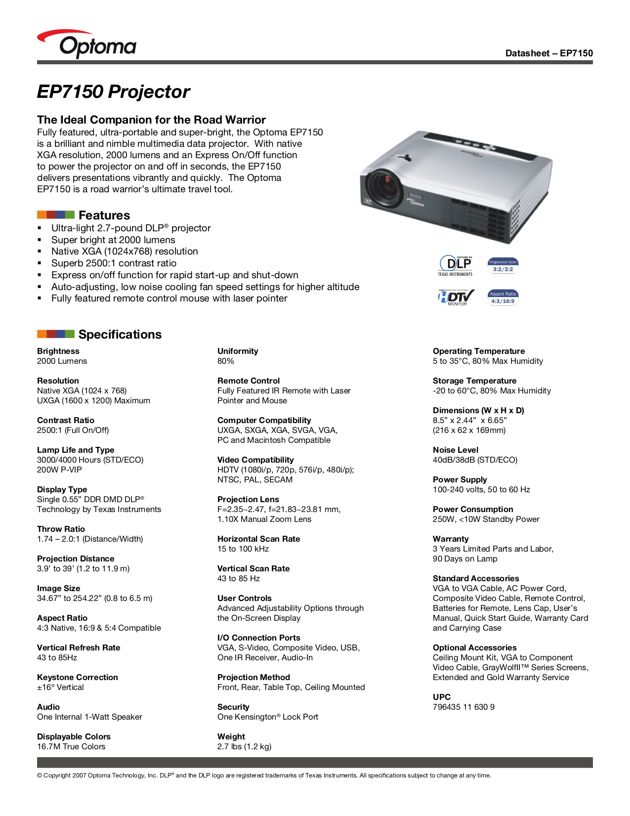 pdf for Optoma Projector EP7150 manual